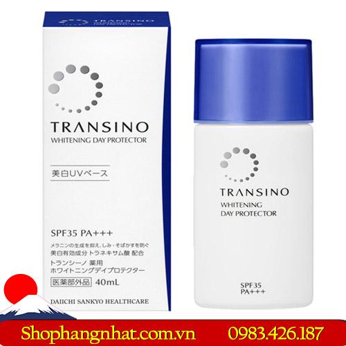 Kem chống nắng Transino Whitening Day Protector Nhật Bản 40ml chống bết dính