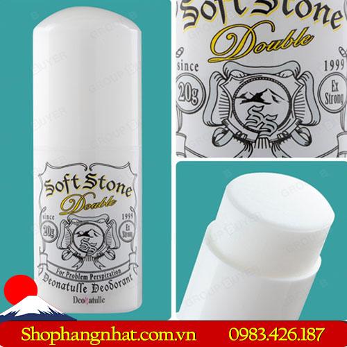 Lăn khử mùi đá khoáng Soft Stone Deonatulle Thỏi 20g dưỡng da mịn màng trắng sáng