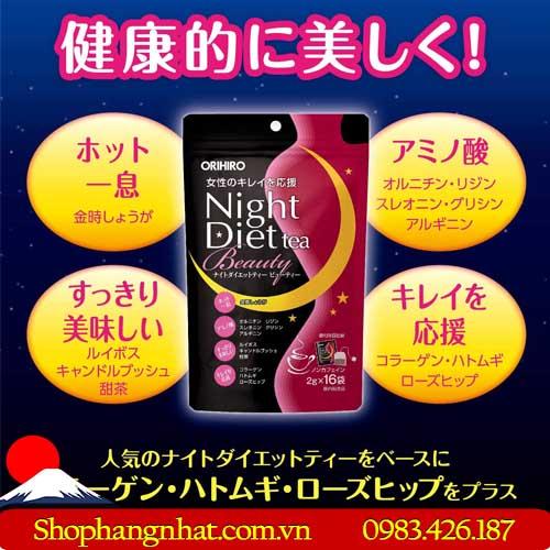 Trà giảm cân Night Diet Tea Collagen chính hãng 16 túi