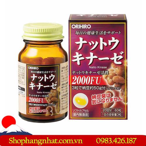 Viên uống Nattokinase 2000FU Nhật Bản điều trị tai biến 60 viên